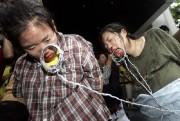 北朝鮮の人権侵害を告発するデモの一場面(2005年8月、ソウル:デイリーNK)