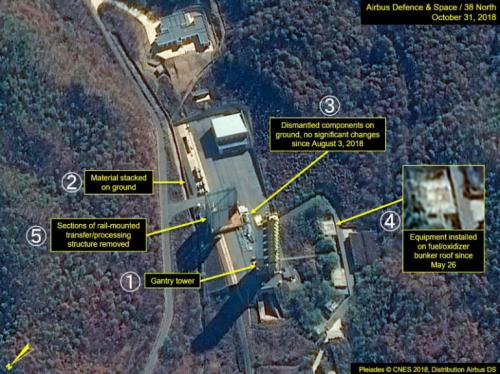 10月31日に撮影された、北朝鮮・東倉里の西海衛星発射場の衛星写真。(1)鉄塔(2)地上に置かれた資材(3)解体された資材(4)5月26日以降、燃料貯蔵施設の屋根に取り付けられた設備(5)一部が解体された建物(プレアデス(C)CNES 2018、エアバス・ディフェンス・アンド・スペース/38ノース提供・共同)