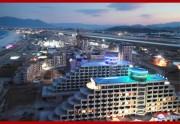 北朝鮮が東海岸に造成中の総合リゾート、元山葛麻海岸観光地区の建設現場(2018年11月1日付朝鮮中央通信)