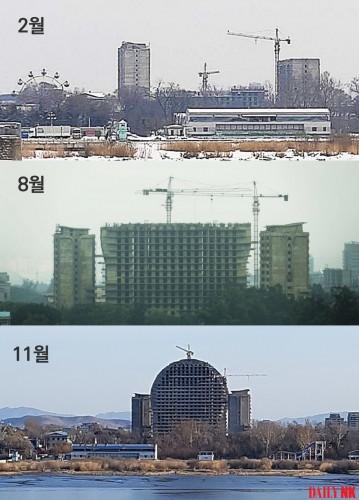 新義州で建設が進められているホテルの今年2月、8月、11月の状況(画像:デイリーNK)