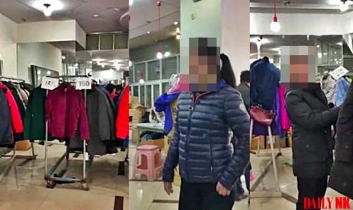 店内の様子と接客にあたる北朝鮮人店員(画像:デイリーNK情報筋)