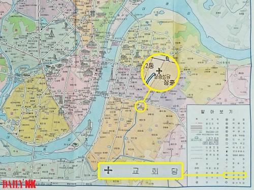 北朝鮮の「道路里程図」に表記されている教会の位置。(画像:デイリーNK)