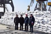 ロシアから北朝鮮の清津港に到着した食糧支援の小麦(画像:駐北朝鮮ロシア大使館Facebook)