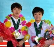 国際水泳連盟(FINA)ダイビングワールドシリーズ2019でメダルを獲得した北朝鮮の選手ら(朝鮮中央通信)