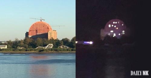 北朝鮮の新義州で工事が進められている丸い建物の昼間(左)と夜間(右)の様子(画像:デイリーNK情報筋)