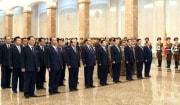 錦繍山記念宮殿を参拝した北朝鮮の党と政府、武力機関の幹部ら(2020年4月16日付労働新聞)