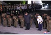 朝鮮戦争「参戦烈士墓」を訪れた金正恩氏(2020年7月27日付朝鮮中央通信より)