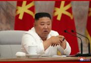 2日、朝鮮労働党中央委員会第7期第14回拡大会議に参加した金正恩氏(2020年7月3日付朝鮮中央通信)