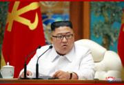 25日に緊急招集された朝鮮労働党中央委員会政治局拡大会議での金正恩氏(2020年7月26日付朝鮮中央通信)