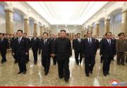錦繍山太陽宮殿を参拝した金正恩氏(2020年7月8日付朝鮮中央通信より)