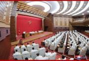 朝鮮労働党中央委員会第7期第6回総会を指導した金正恩氏(2020年8月20日付朝鮮中央通信より)