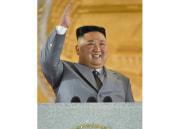 労働党創立75周年記念軍事パレードで祝賀演説を行った金正恩氏(2020年10月10日労働新聞より)