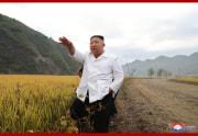 金化郡の災害復旧建設現場を現地指導した金正恩氏(2020年10月2日付朝鮮中央通信より)