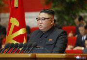 金正恩氏が労働党第8回大会の結語を述べた(2021年1月13日付朝鮮中央通信)
