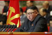 朝鮮労働党第8回大会の第2日会議で事業報告を行う金正恩氏(2021年1月7日付朝鮮中央通信)