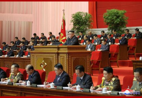朝鮮労働党第8回大会、最終日の金正恩氏(2021年1月13日付朝鮮中央通信)