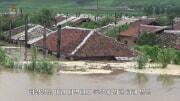豪雨で冠水した咸鏡南道の住宅地。朝鮮中央テレビが5日に報じた.